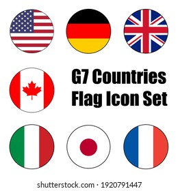 Group of Seven (G7) Country Flag Vector Circle Icon Set for push button and global issue concepts. United States of America, Germany, Italy, Japan, France, United Kingdom, and Canada.