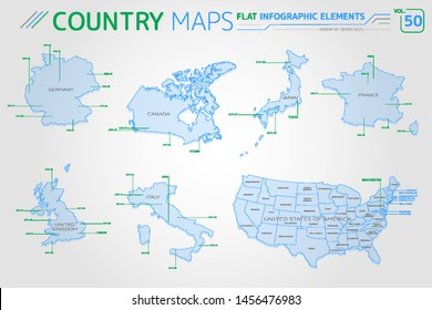 Group of Seven G7, Germany, Canada, United Kingdom, Italy, United States of America, France and Japan Vector Maps
