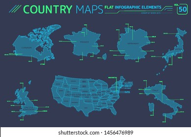 Group of Seven G7, United Kingdom, Germany, Italy, Canada, United States of America, France and Japan Vector Maps