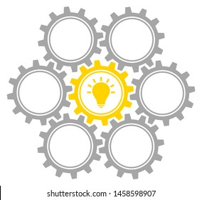 Group Of Seven Graphic Gears Idea Middle Gray And Yellow