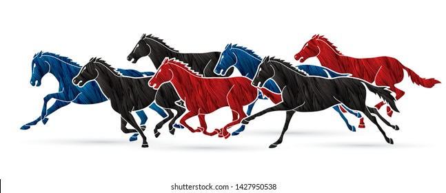 Group of seven horses running cartoon graphic vector
