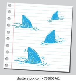 Group of shark fins