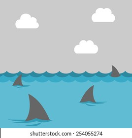 group of shark at sea