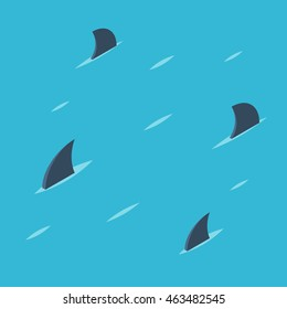 Group of shark at sea. Danger ocean concept. Pattern of shark fins on a blue background. Vector colorful illustration isometric flat style