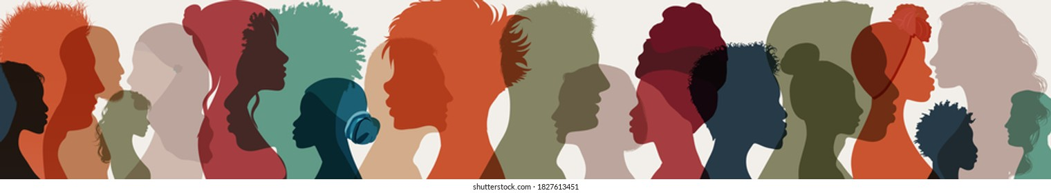 Group side silhouette men and women of different culture and different countries. Diversity multiethnic people. Coexistence harmony and multicultural community integration. Racial equality
