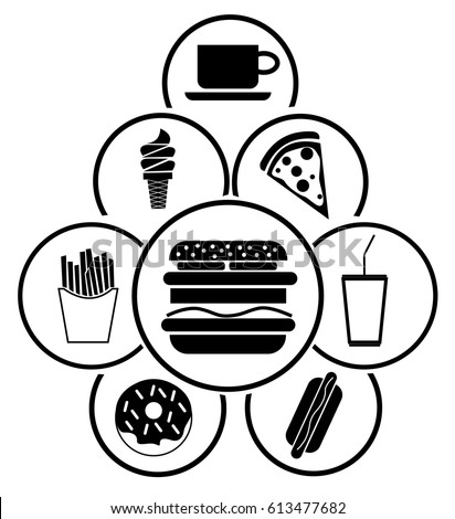 Group Simple Fast Food Icons Circle Stock Vector Royalty Free