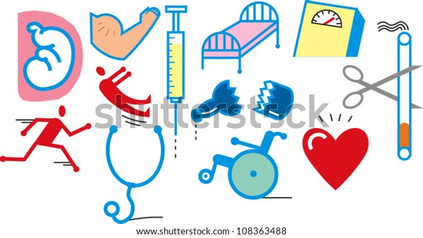 A group of simple health-related images