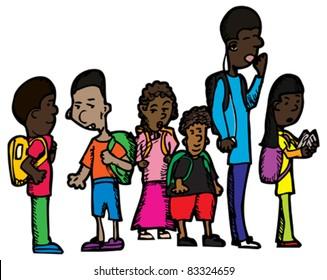 Group of six schoolchildren on isolated background