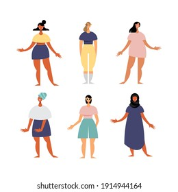group of six women characters with diferent dresses vector illustration design