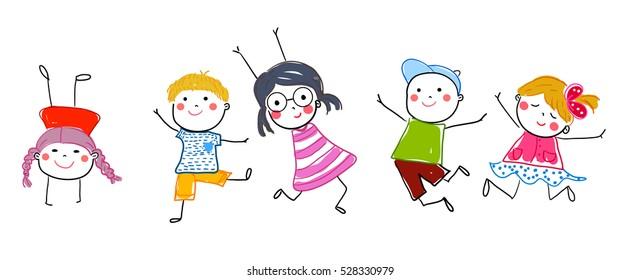 Group of sketch kids