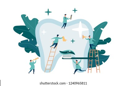 group of small dentists are caring for a large tooth. modern digital illustration with smooth shapes. Big tooth on the background of plants.