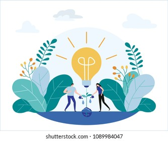 Group small people grow plants Vector illustration banner.