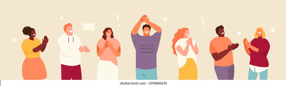 Group of smiling applauding people. Congratulation and ovation flat illustration banner