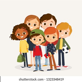 Group of smiling children standing together.  Young people, friends, classmates, students,