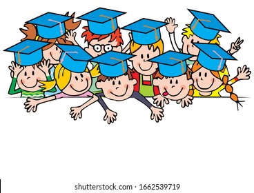 Group of smiling kids with blue caps, funny vector illustration white background