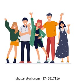 Group smiling people waving hands, standing together. Happy friends, students say hello. Flat cartoon vector illustration.