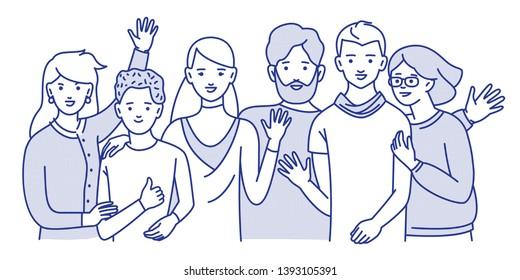 Groupe d'adolescents souriants, garçons, filles ou amis, se tenant ensemble, s'embrassant, se serrant la main. Jeunes étudiants isolés sur fond blanc. Illustration vectorielle d'une ligne de couleurs.