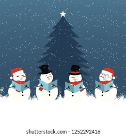 Group of snowman singing near christmas tree in the winter cartoon vector illustration