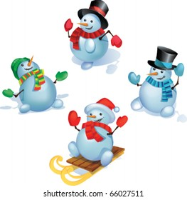 Group of snowmans in standing is different poses. Each Snowman grouped separately. eps10 files