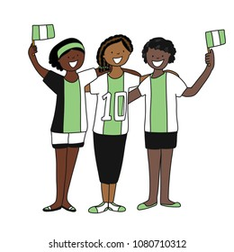 Group of soccer fans of the football team of Nigeria holding flags for football match isolated vector on white background