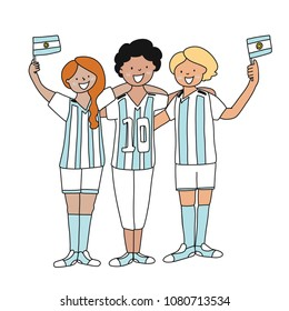 Group of soccer fans of the football team of Argentina holding flags for football match isolated vector on white background