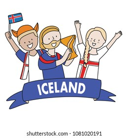 Group of soccer fans of the football team of holding Iceland Flags for football match isolated vector on white background