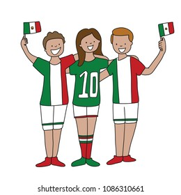 Group of soccer fans of the football team of holding Mexico Flags for football match isolated vector on white background