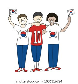 Group of soccer fans of the football team of holding South Korea Flags for football match isolated vector on white background