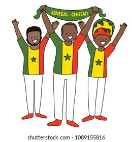 Group of soccer fans of the football team of Senegal holding fags for football match isolated vector on white background  Country name  Senegal (translated from russian)