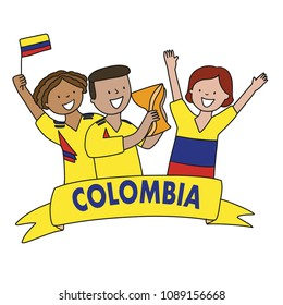 Group of soccer fans of the football team of Colombia holding flags for football match isolated vector on white background  Country name  Colombia