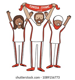Group of soccer fans of the football team of Tunisia holding flags for football match isolated vector on white background  Country name  Tunisia (translated from russian and arab)