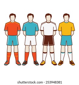 a group of soccer players with different uniform #2