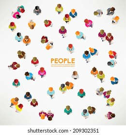 A group of social people gather together vector design