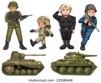 A group of soldiers with tanks on a white background
