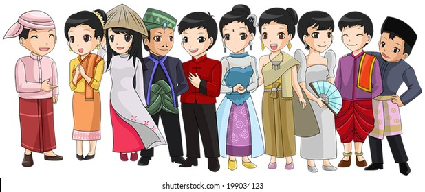 Group of Southeast Asia country people with different race and culture national costume in cute cartoon illustration design representing ASEAN organization (vector)