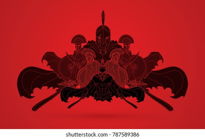 Group of Spartan warriors composition  graphic vector