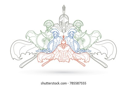 Group of Spartan warriors, Roman Helmet composition outline graphic vector