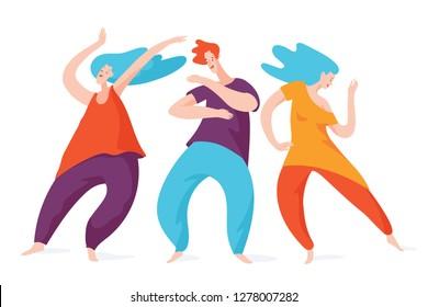 Group of spontaneous dancing people. Vector men and woman dancing. 5 Rhythms dancing.