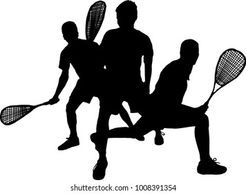 Group of squash people black silhouette vector