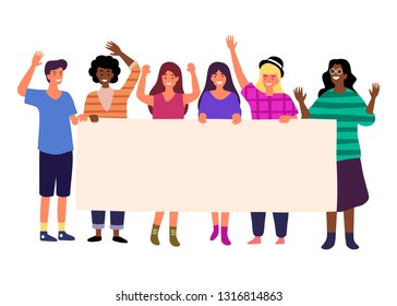 Group standing together striking people holding banners. Flat cartoon and vector illustration of group of male and female people standing with flags and posters in hands protest parade