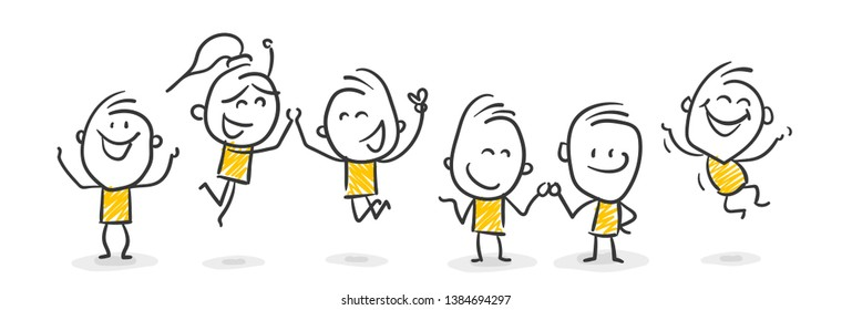 A Group Of Stick Figures Are Happy And Jumping Around Vector