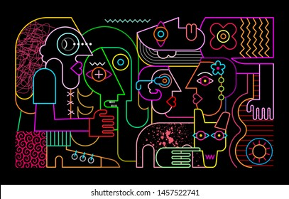 Group of strange people with big dirty dog modern abstract artwork. Neon colors on a black background Five People and a Dog vector illustration.