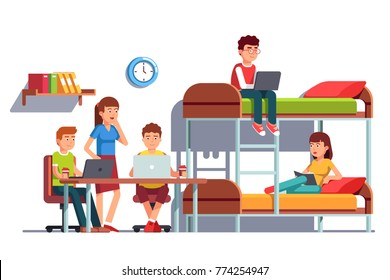 Group of student friends man and woman doing collaboration project and studying together at dormitory bedroom room using laptop computers. Sitting and lying at bunk bed. Flat vector illustration.