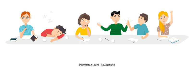 A group of students at a Desk, the boys read, play, sleep. Girl bored, learn. Isolated vector in flat style.