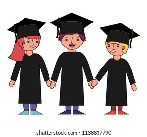group of students graduted avatars characters