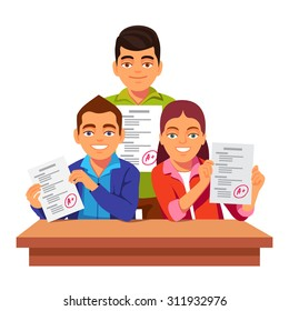 Group of students holding and showing off their exam test papers with perfect A+ results. Flat style vector illustration isolated on white background.
