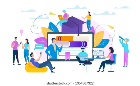 Group of Students Sitting Around of Huge Monitor and Watching Webinar. Online Education, Teacher Speaking at Computer Desktop Online. Teaching Course or Seminar for Scholars. Flat Vector Illustration