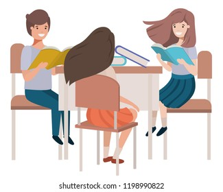 group students sitting in school desk avatar character