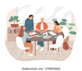 Gruppe von Studenten, die zusammen lernen. Junge Leute sitzen am Tisch und lernen.