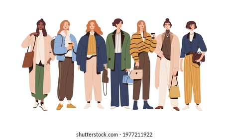 Group of stylish women wearing fashion outfits. Young female characters standing in modern casual clothes. People in trendy apparel. Colored flat vector illustration isolated on white background